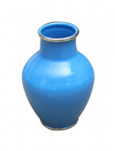 Moroccan Vase Safi Ceramic Turquoise Blue with Silver Border Handmade Classical Design 30cm 12""